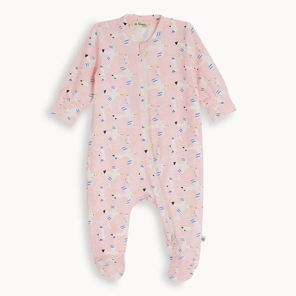 the bonnie mob relax zip front sleepsuit free bird, baby's organic cotton jumpsuit