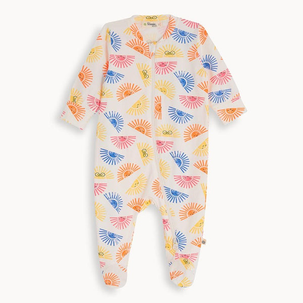 the bonnie mob relax zip front sleepsuit sunshine, baby's organic cotton playsuit