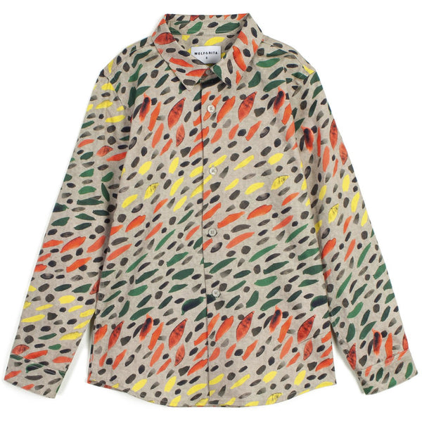 wolf & rita roberto winter grass shirt, bright fun colorful pattern button top for boys kids, kodomo boston fast free shipping