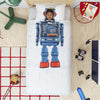 snurk robot duvet cover set full/queen, fun bedding bedroom decor for children at kodomo boston, free fast shipping