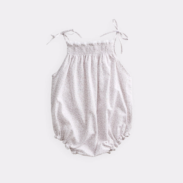 belle enfant ruffle romper ditsy floral beige, spring summer 2020 lightweight baby onesies and rompers at kodomo boston, free shipping