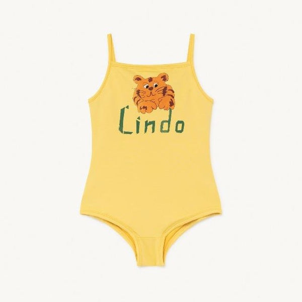 the animals observatory octopus kids swimsuit yellow lindo, girl's one piece swimwear