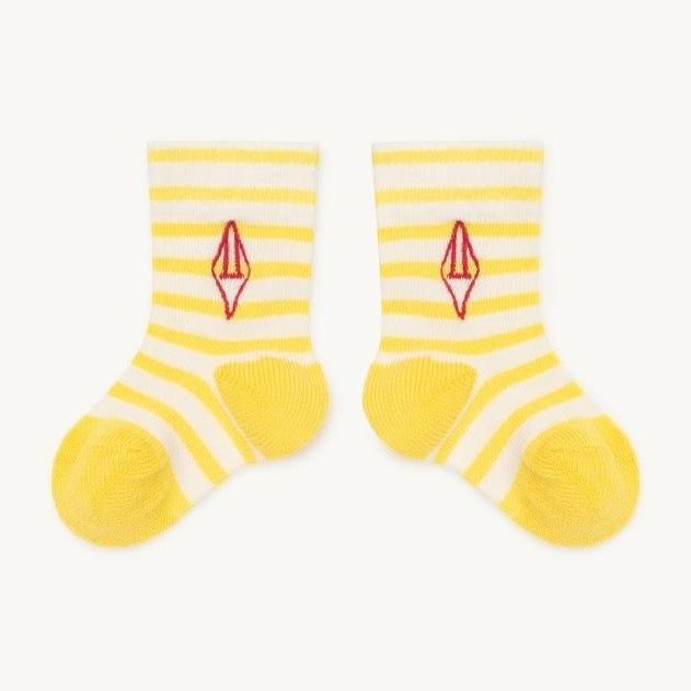 the animals observatory snail baby socks yellow logo, baby's cotton accessories