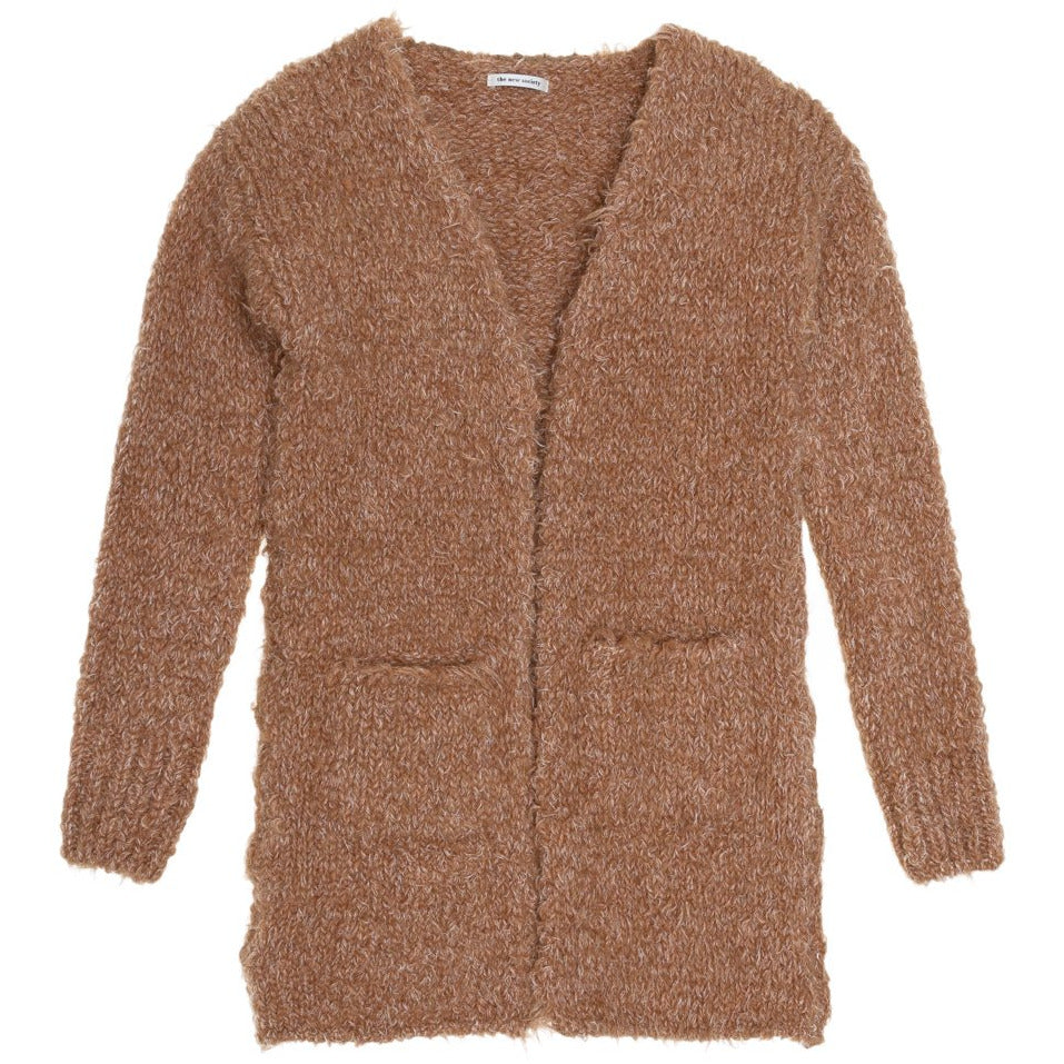 the new society saeide knit coat with patch pockets camel - kodomo boston, fast free shipping, cozy kids long cardigans