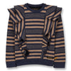 finger in the nose shibuya crew neck sweatshirt linen stripes