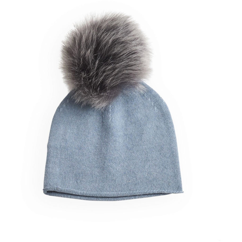 belle enfant pompom hat rabbit fur trim soft blue, cashmere winter hats for kids at kodomo boston