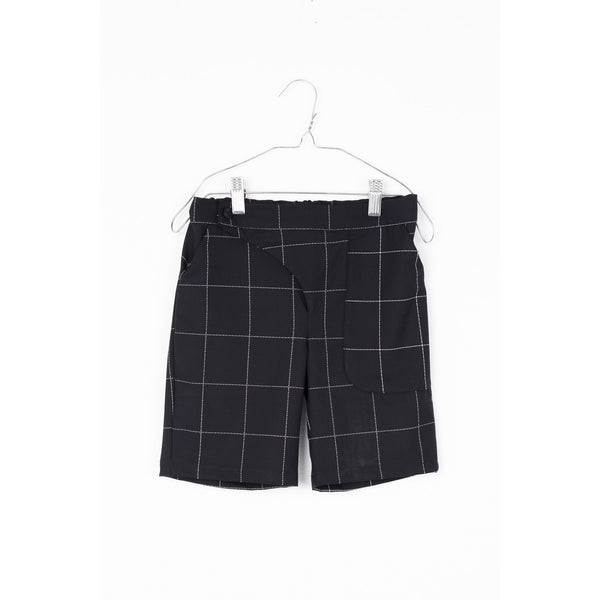 motoreta pocket pants black & white grid