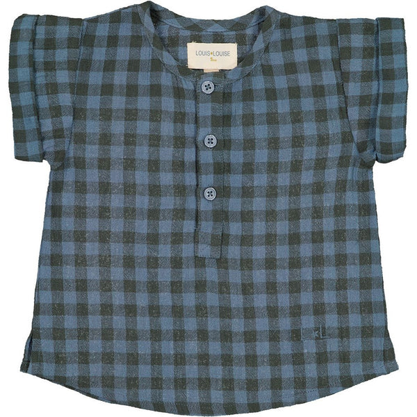 louis louise solal check shirt blue, cotton ethical baby clothing and tops for spring summer at kodomo boston, free shipping