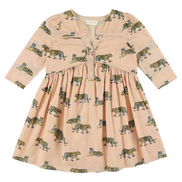 simple kids orion tigers print dress blush, free shipping kodomo boston