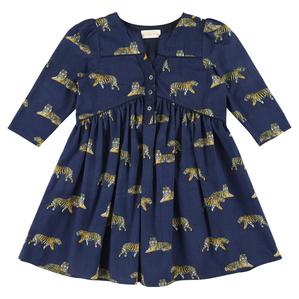 simple kids orion tigers print dress navy, free shipping kodomo boston