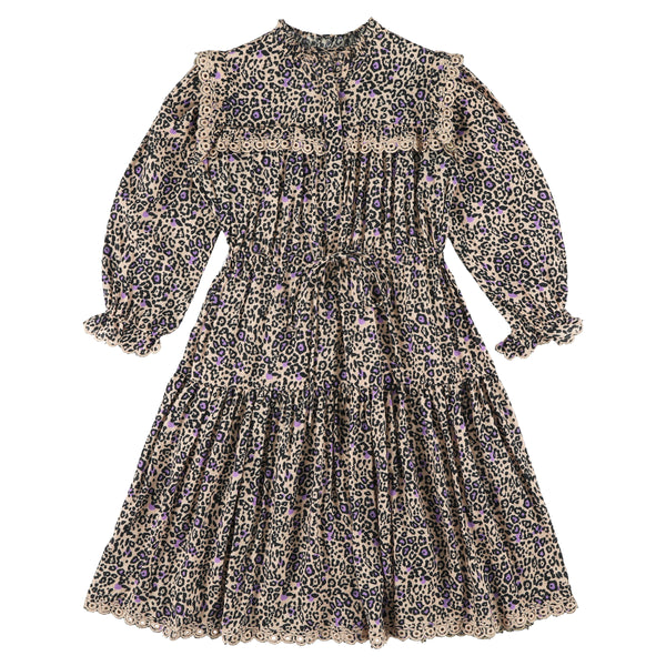 simple kids zhang panther print dress pink, free shipping at kodomo boston