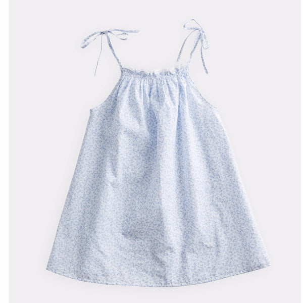belle enfant gathered sundress ditsy floral blue, spring summer baby and girls dresses from kodomo boston, free shipping