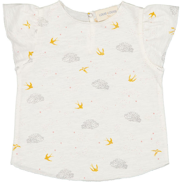 louis louise papillion t-shirt jersey birds vanilla, ethical baby clothes for spring summer at kodomo boston, free shipping