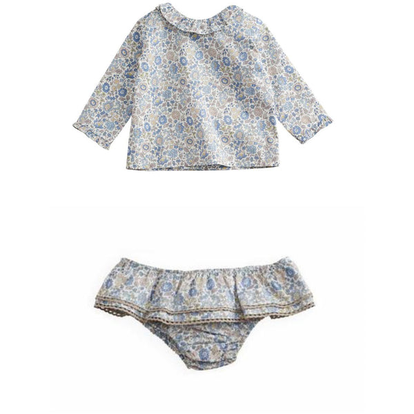 belle enfant baby ruffle collar blouse + bloomers set liberty d'anjo - kodomo boston, free shipping.