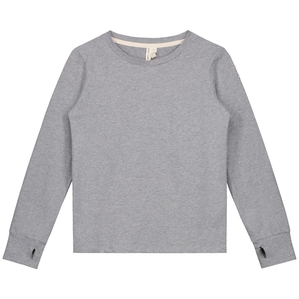 gray label long sleeve tee with thumbhole grey melange - kodomo tops - children's clothing in boston, gray label - bobo choses, atsuyo et akiko, belle enfant, mamma couture, moi, my little cozmo, nico nico