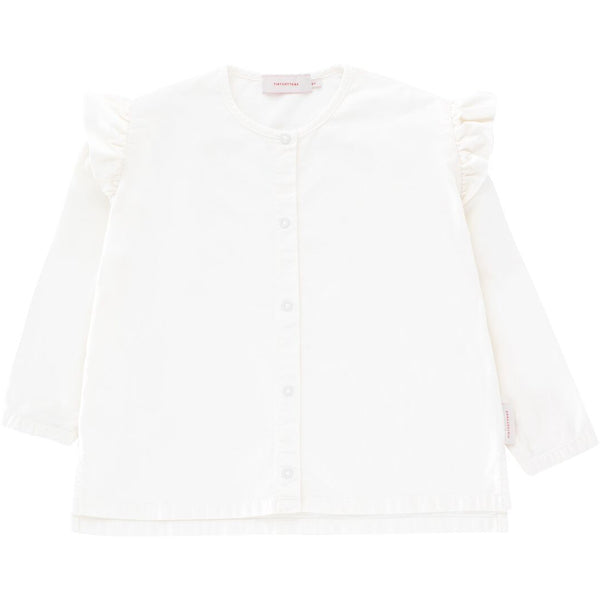 tinycottons solid shoulder frills blouse off-white - kodomo