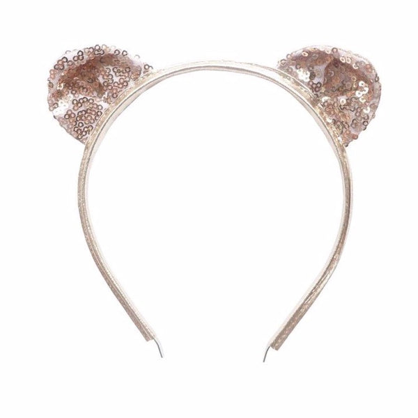 woodstock cat ear headband rose gold sequins - kodomo hair accessories - children's clothing in boston, woodstock - bobo choses, atsuyo et akiko, belle enfant, mamma couture, moi, my little cozmo, nico nico