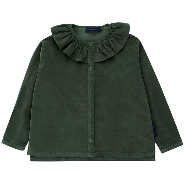tinycottons solid frilled collar blouse dark green - kodomo