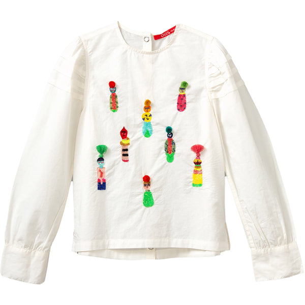 oilily boost blouse off white with embroidery, fw20 ethical fall fashion for kids at kodomo boston, free shipping