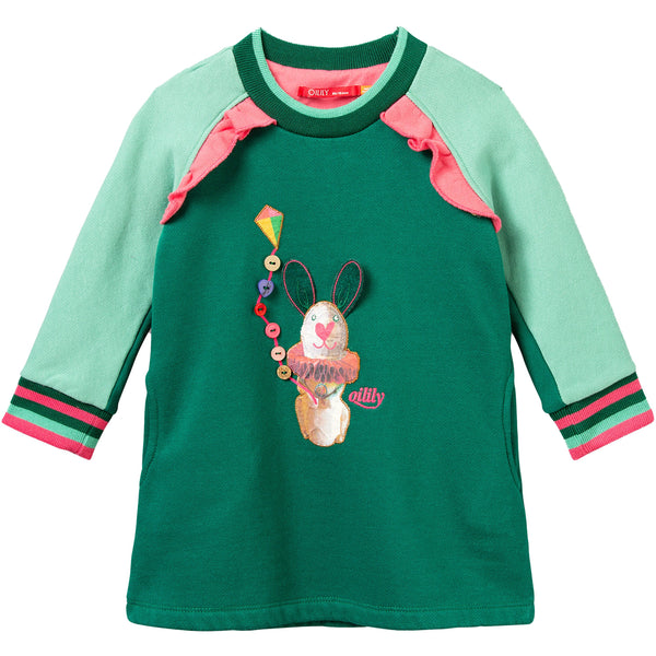 oilily hisper sweat dress green rabbit with kite, fw20 ethical fall fashion for kids at kodomo boston, free shipping