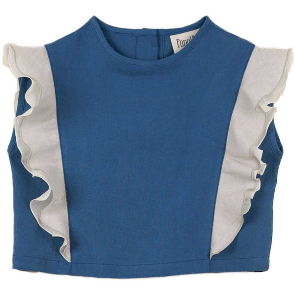 popelin new spring summer baby collection blue double frill shirt - free fast shipping on all orders over $99 from kodomo