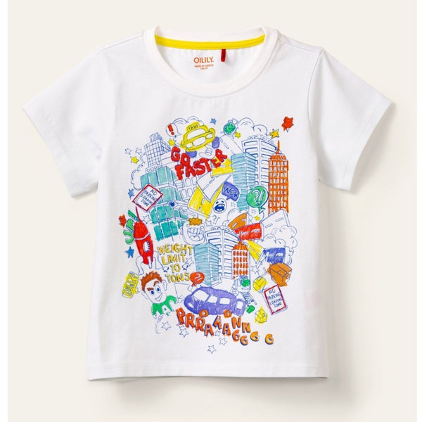 oilily tak short sleeve t-shirt white,  new spring summer 2020 kids clothes and dresses from kodomo boston, free shipping