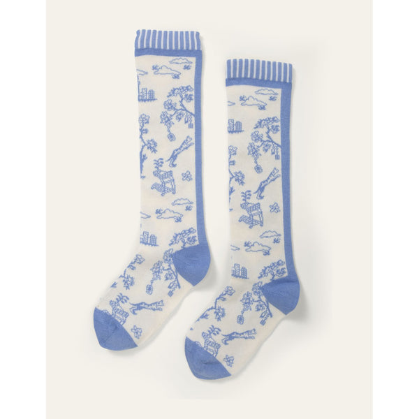 oilily madeleine knee socks blue, new spring summer collection at kodomo boston