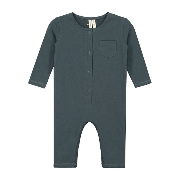 gray label long sleeve playsuit blue grey - kodomo