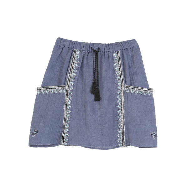 zef paris kids and teen collection emroidered skirt blue at kodomo boston. free shipping