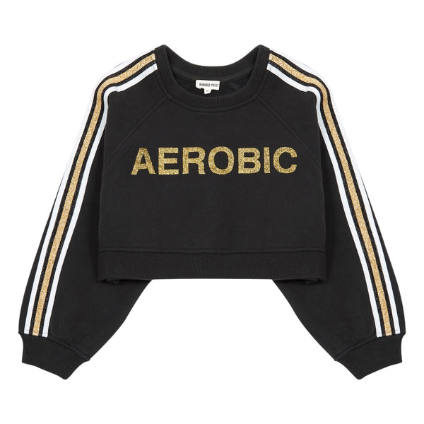 hundred pieces aerobic cropped sweatshirt liquorice, yoga and dance clothes for kids at kodomo boston