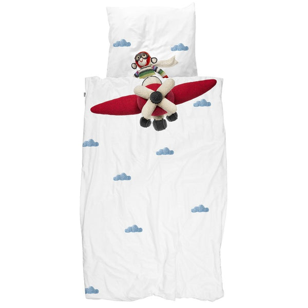 snurk airplane/monkey duvet cover set, fun children's bedding