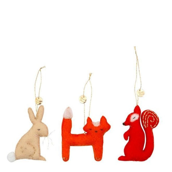 meri meri forest animals tree decoration set, animal ornaments