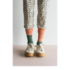 sticky lemon knee-high glitter socks coral green - kodomo boston. free shipping.