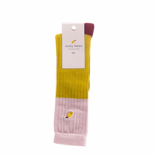 sticky lemon knee-high glitter socks nude/yellow - kodomo boston. free shipping.