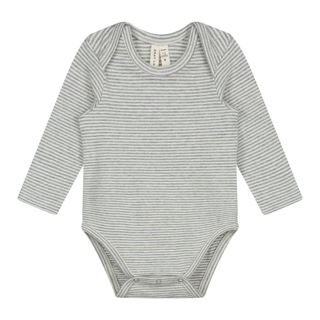 gray label baby long sleeve onesie grey melange/cream stripe - kodomo boston, fast shipping, organic cotton baby onesie