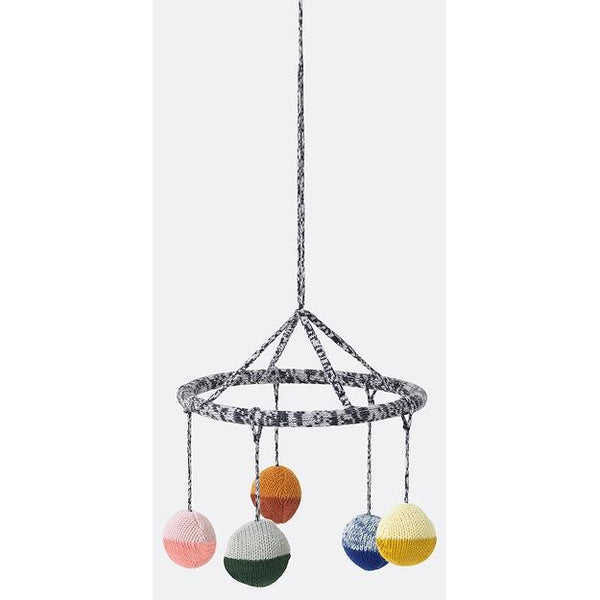ferm living ball knitted hanging mobile - kodomo boston
