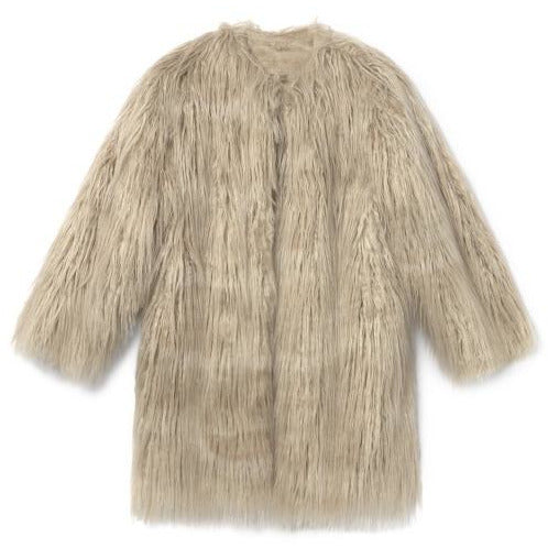 little creative factory beatnik coat dirty white, girls faux fur coats, natural off-white tan