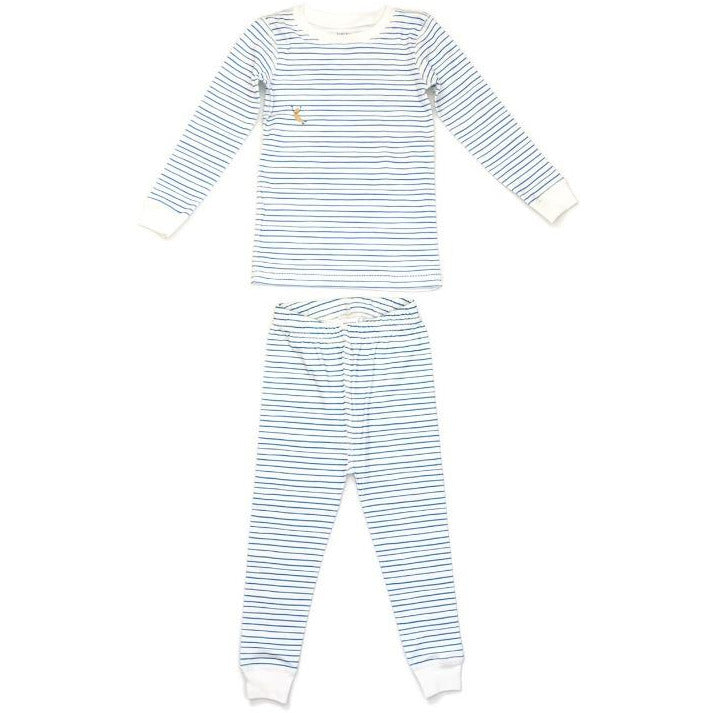 dodo banana pajama set blue stripe, children's sustainable loungewear sets