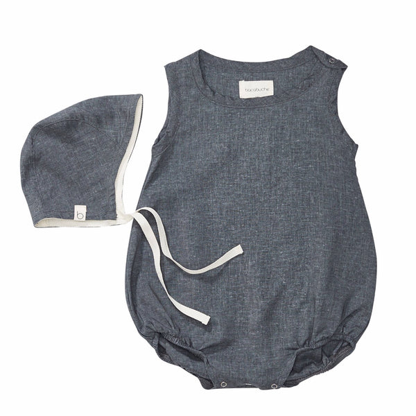 bacabuche bubble romper + bonnet charcoal - kodomo boston, fast shipping, baby, newborn clothes