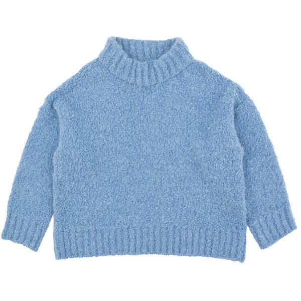 tinycottons fluffy mock sweater blue - kodomo