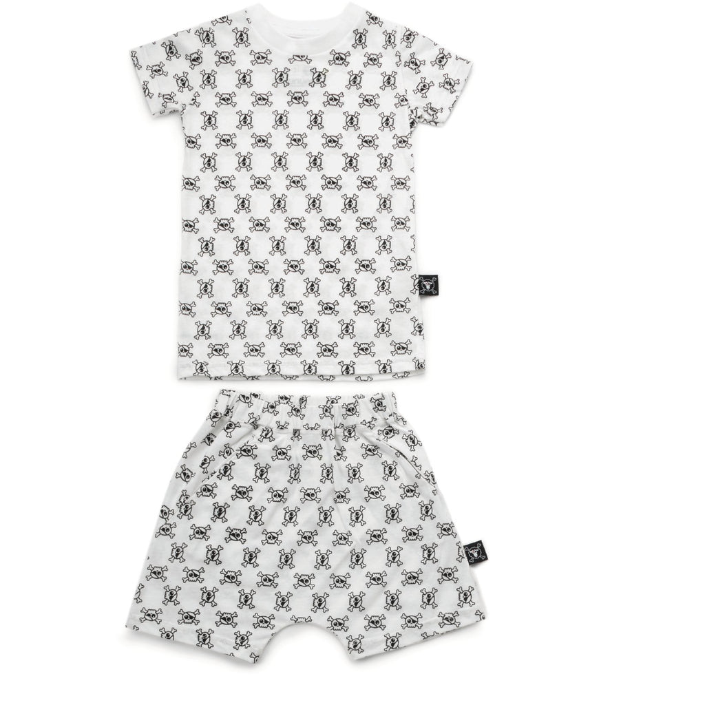 nununu new spring summer girls collection skull & crossbones loungewear set in white - free fast shipping on all orders over $99 from kodomo