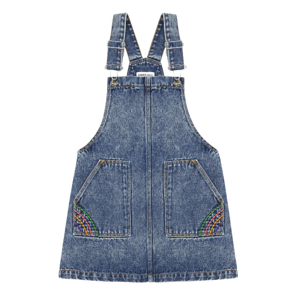 hundred pieces denim overall dress, cute and easy to wear girls denim dress at kodomo boston, free shipping