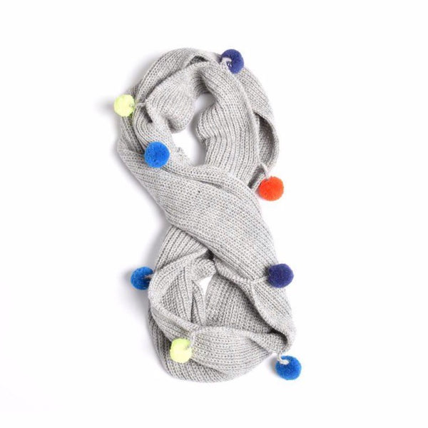 cabbages & kings ny double wrap infinity pom scarf grey - kodomo scarf - children's clothing in boston, cabbages & kings - bobo choses, atsuyo et akiko, belle enfant, mamma couture, moi, my little cozmo, nico nico