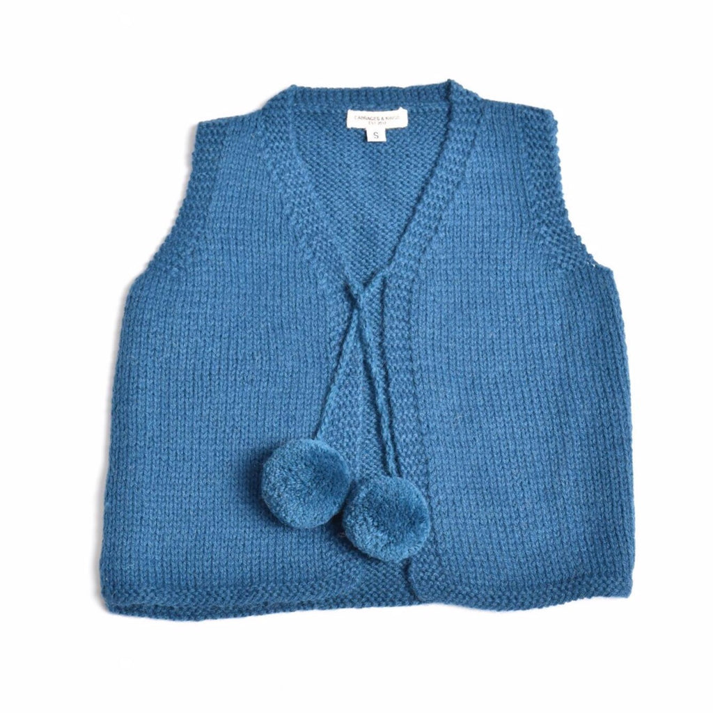 cabbages & kings alpaca pom pom vest teal - kodomo