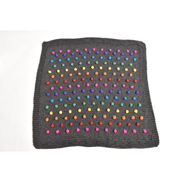 cabbages & kings hand made rainbow pom blanket charcoal - kodomo blanket - children's clothing in boston, cabbages & kings - bobo choses, atsuyo et akiko, belle enfant, mamma couture, moi, my little cozmo, nico nico