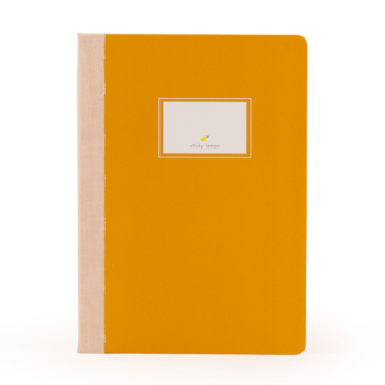 sticky lemon notebook linen caramel fudge - kodomo boston. free shipping.