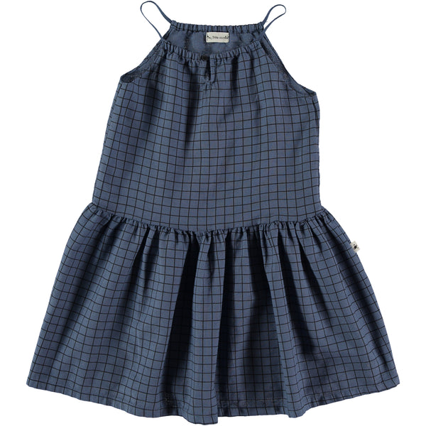 my little cozmo dress dark blue, girls summer dresses at kodomo boston