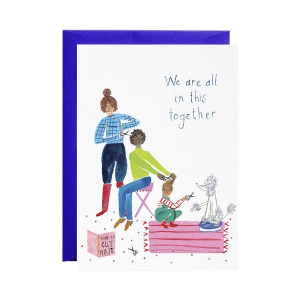 mr. boddington's family haircuts greeting card, holiday themed cards