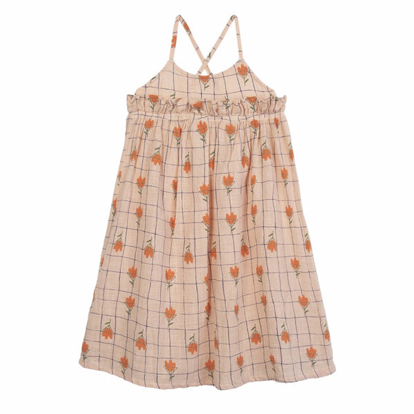 barn of monkeys flowers dress pale peach, ethical and comfortable girls dresses for spring summer 2020 at kodomo boston, free shipping