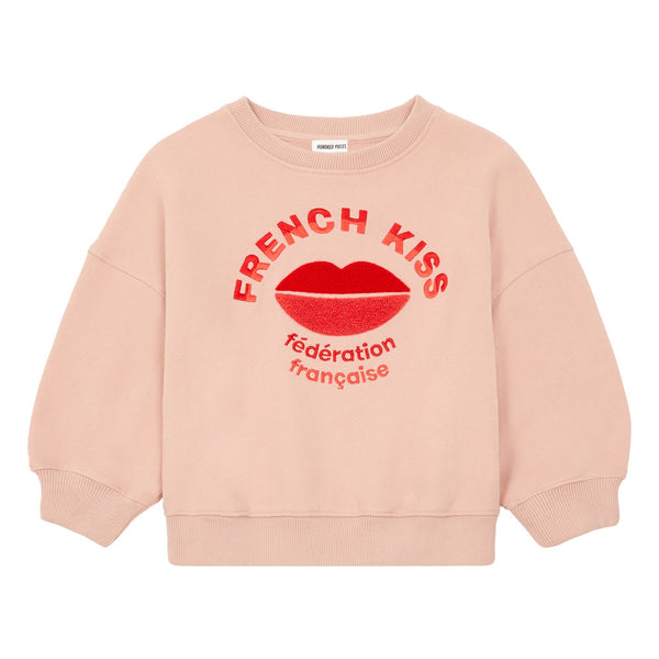 hundred pieces french kisses sweatshirt dusty pink, cool kids clothes at kodomo boston
